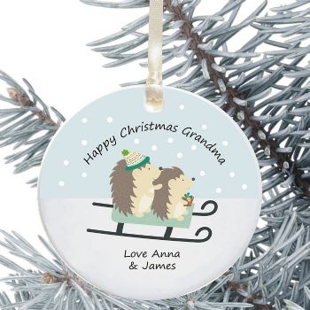 Ceramic Grandad/Grandma Keepsake Christmas Decoration - Hedgehog Design